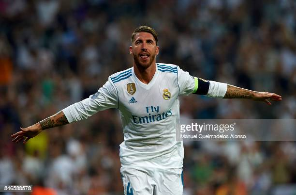 Sergio Ramos of Real Madrid celebrates scoring his team's third goal during the UEFA Champions League group H match between Real Madrid and APOEL...