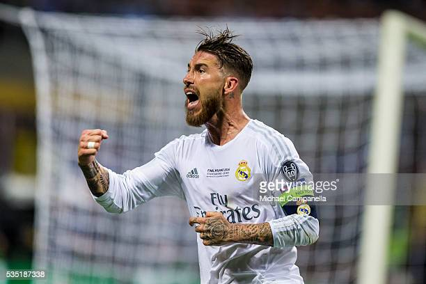 Sergio Ramos of Real Madrid celebrates scoring the opening goal during the UEFA Champions League final between Real Madrid and and Club Atletico...