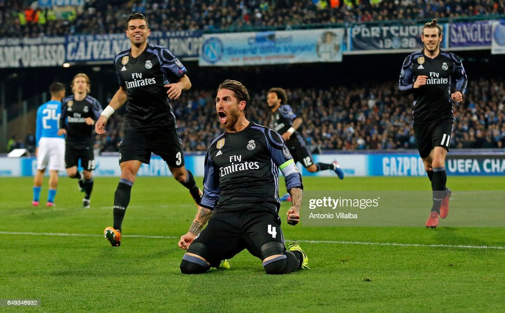 Sergio Ramos of Real Madrid celebrates the second goal of his team during the UEFA Champions League Round of 16 second leg match between SSC Napoli and Real Madrid CF at Stadio San Paolo on March 7, 2017 in Naples, Italy.