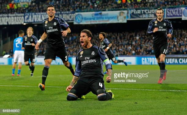 Sergio Ramos of Real Madrid celebrates the second goal of his team during the UEFA Champions League Round of 16 second leg match between SSC Napoli...