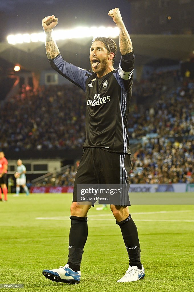 Sergio Ramos of Real Madrid celebrates the third goal against RC Celta during the La Liga match, between Celta Vigo and Real Madrid at Estadio Balaidos on May 17, 2017 in Vigo, Spain.