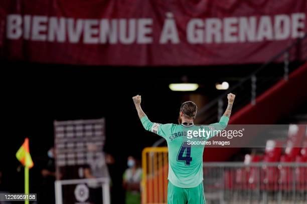 Sergio Ramos of Real Madrid celebrates the victory during the La Liga Santander match between Granada v Real Madrid at the Estadio Nuevo Los Cármenes...