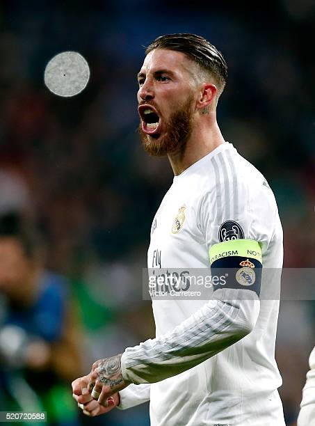 Sergio Ramos of Real Madrid celebrates victory after the UEFA Champions League quarter final second leg match between Real Madrid and VfL Wolfsburg...