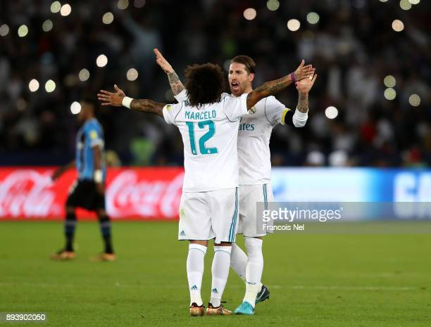 Sergio Ramos of Real Madrid celebrates victory with Marcelo of Real Madrid during the FIFA Club World Cup UAE 2017 Final between Gremio and Real...