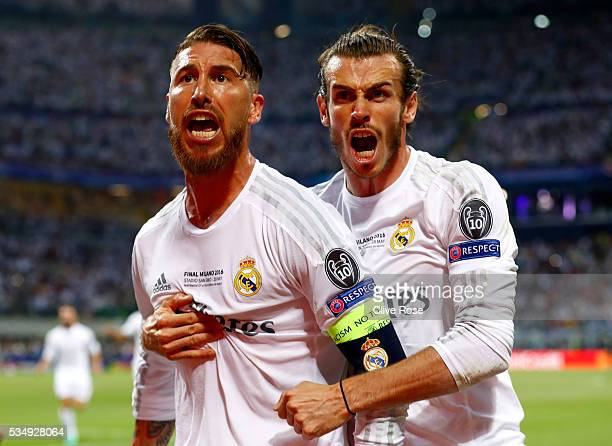 Sergio Ramos of Real Madrid celebrates with Gareth Bale after scoring the opening goal during the UEFA Champions League Final match between Real...