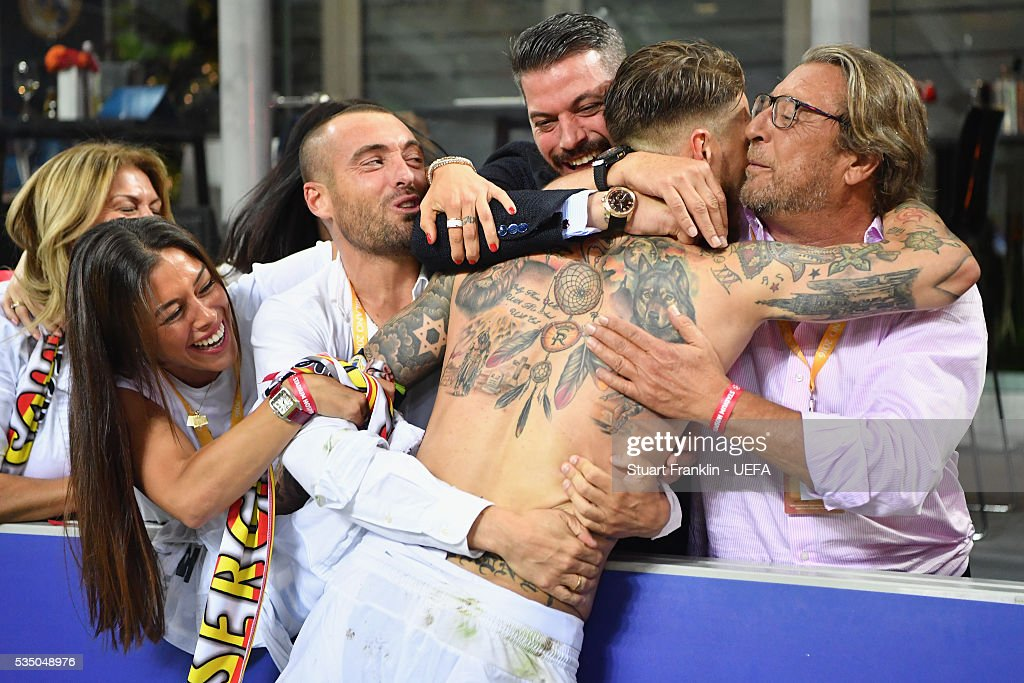 Sergio Ramos of Real Madrid celebrates with his family after the UEFA Champions League Final between Real Madrid and Club Atletico de Madrid at Stadio Giuseppe Meazza on May 28, 2016 in Milan, Italy..