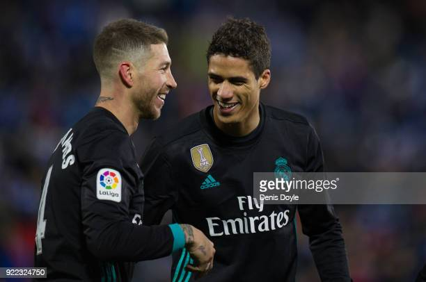 Sergio Ramos of Real Madrid celebrates with Rafael Varane after scoring his teamÕs third goal from the penalty spot during the La Liga match between...