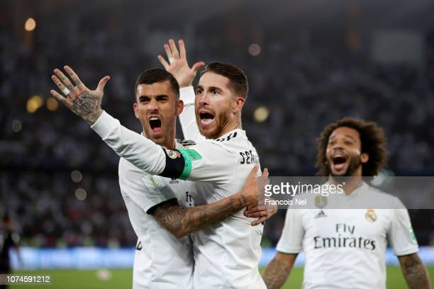 Sergio Ramos of Real Madrid celebrates with teammates Marcelo and Daniel Ceballos after scoring his team's third goal during the FIFA Club World Cup...