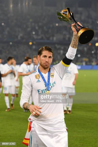 Sergio Ramos of Real Madrid celebrates with the trophy after the FIFA Club World Cup UAE 2017 Final between Gremio and Real Madrid at the Zayed...