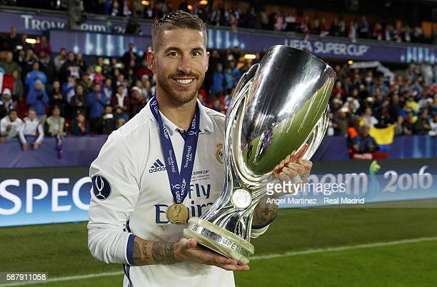 Sergio Ramos of Real Madrid celebrates with the trophy after the UEFA Super Cup match between Real Madrid and Sevilla at Lerkendal Stadion on August...