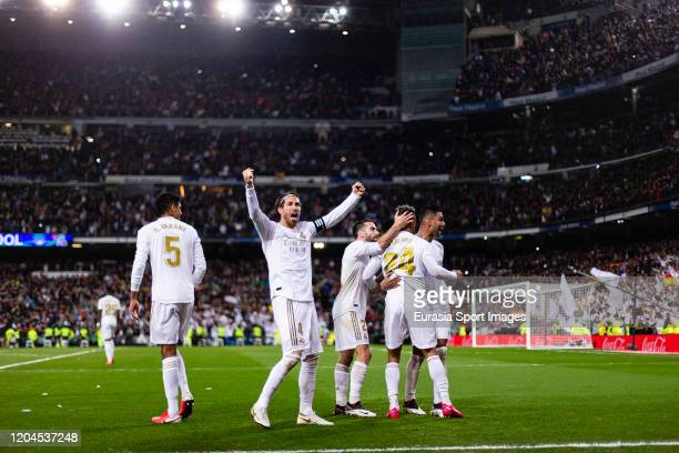 Sergio Ramos of Real Madrid celebrating Madrids second goal scored by Mariano Diaz of Real Madrid during the Liga match between Real Madrid CF and FC...