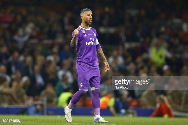 Sergio Ramos of Real Madrid celebrating the UEFA Champions League Final between Juventus and Real Madrid at National Stadium of Wales on June 3 2017...