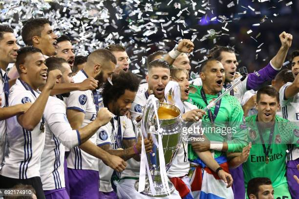 Sergio Ramos of Real Madrid celebrating with the trophy the UEFA Champions League Final between Juventus and Real Madrid at National Stadium of Wales...