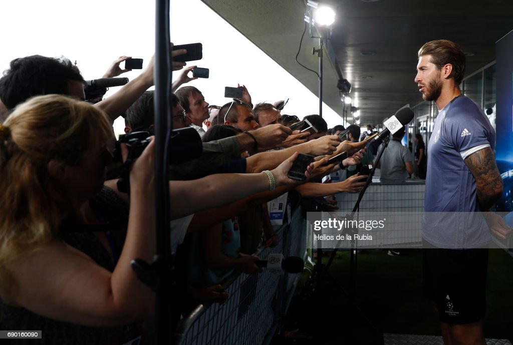 Sergio Ramos of Real Madrid CF answers questions in the mixed zone during the Real Madrid UEFA Open Media Day at Valdebebas training ground on May 30, 2017 in Madrid, Spain.