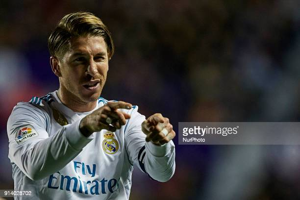 Sergio Ramos of Real Madrid CF celebrates after scoring during the La Liga game between Levante UD and Real Madrid CF at Ciutat de Valencia on...