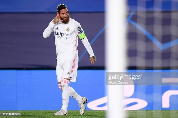Sergio Ramos of Real Madrid CF celebrates after scoring his 100th goal for Real Madrid CF during the Champions League Group B football match between...