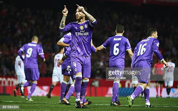 Sergio Ramos of Real Madrid CF celebrates after scoring the second goal of Real Madrid CF with his team mates during the Copa del Rey Round of 16...