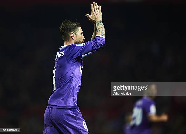 Sergio Ramos of Real Madrid CF celebrates after scoring the second goal of Real Madrid CF during the Copa del Rey Round of 16 Second Leg match...