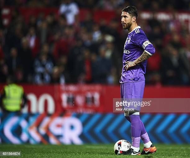 Sergio Ramos of Real Madrid CF concetrates before score the second goal of Real Madrid CF during the Copa del Rey Round of 16 Second Leg match...