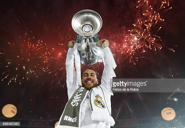 Sergio Ramos of Real Madrid CF during Real Madrid CF team celebration at Santiago Bernabeu Stadium the day after winning the UEFA Champions League...