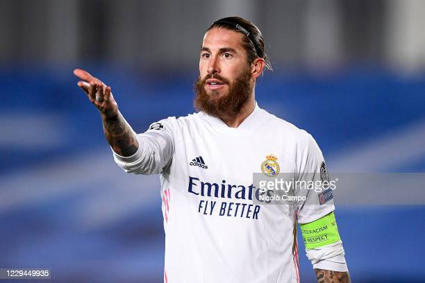 Sergio Ramos of Real Madrid CF gestures during the Champions League Group B football match between Real Madrid CF and FC Internazionale. Real Madrid...