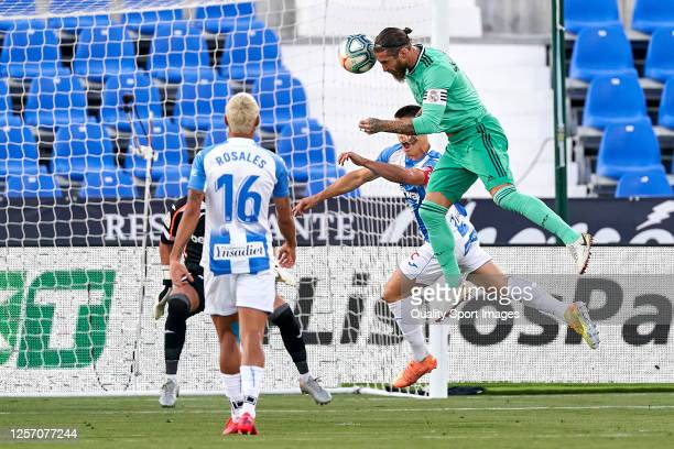 Sergio Ramos of Real Madrid CF heads the ball to score his team's first goal during the Liga match between CD Leganes and Real Madrid CF at Estadio...