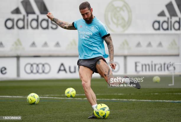 Sergio Ramos of Real Madrid CF in action during a training session at Valdebebas training ground on March 04, 2021 in Madrid, Spain.