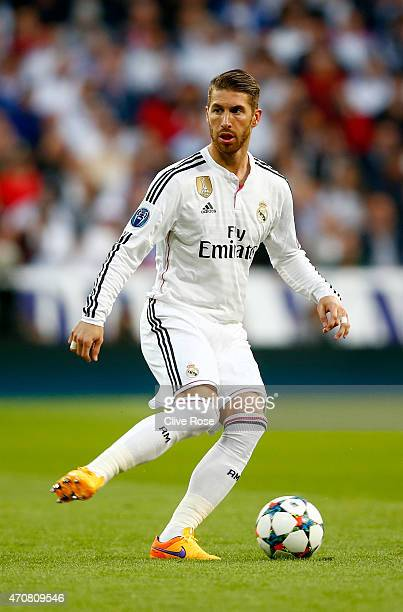 Sergio Ramos of Real Madrid CF in action during the UEFA Champions League quarterfinal second leg match between Real Madrid CF and Club Atletico de...