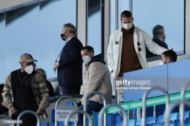 Sergio Ramos of Real Madrid CF leaves the grandstands with his teammates Rodrygo Goes , Lucas Vazquez and Daniel Carvajal after loosing the La Liga...
