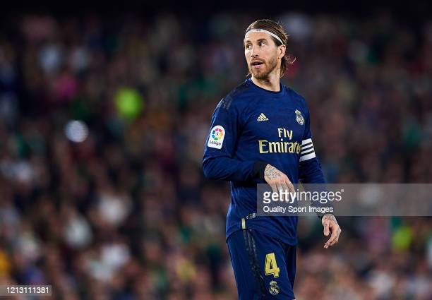 Sergio Ramos of Real Madrid CF looks on during the Liga match between Real Betis Balompie and Real Madrid CF at Estadio Benito Villamarin on March 08...