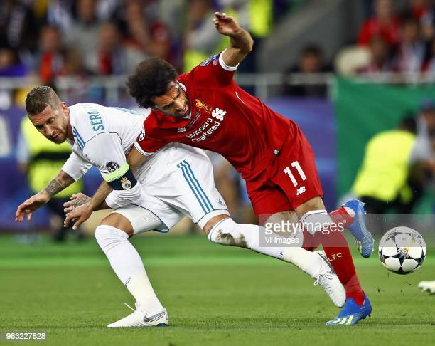 Sergio Ramos of Real Madrid CF Mohamed Salah of Liverpool FC during the UEFA Champions League final between Real Madrid and Liverpool on May 26 2018...