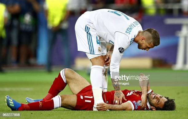 Sergio Ramos of Real Madrid CF, Mohamed Salah of Liverpool FC during the UEFA Champions League final between Real Madrid and Liverpool on May 26,...