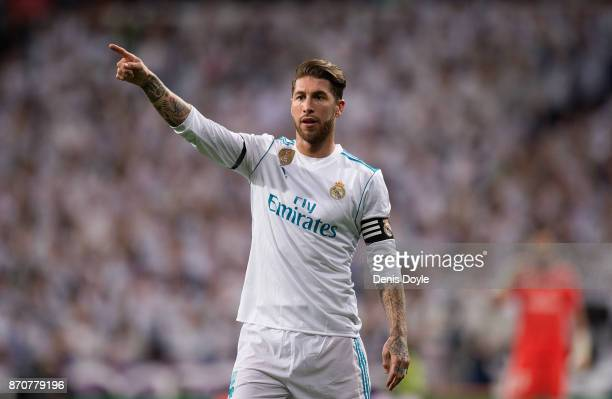 Sergio Ramos of Real Madrid CF points during the La Liga match between Real Madrid and Las Palmas at Estadio Santiago Bernabeu on November 5 2017 in...