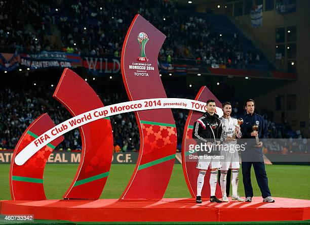 Sergio Ramos of Real Madrid CF poses with Cristiano Ronaldo of Real Madrid CF and Ivan Vicelich of Auckland City after the FIFA Club World Cup Final...