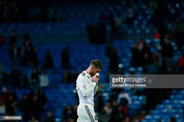Sergio Ramos of Real Madrid CF reacts as he leaves the pitch after losing the La Liga match between Real Madrid CF and Real Sociedad de Futbol at...