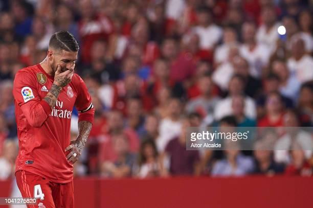 Sergio Ramos of Real Madrid CF reacts during the La Liga match between Sevilla FC and Real Madrid CF at Estadio Ramon Sanchez Pizjuan on September 26...