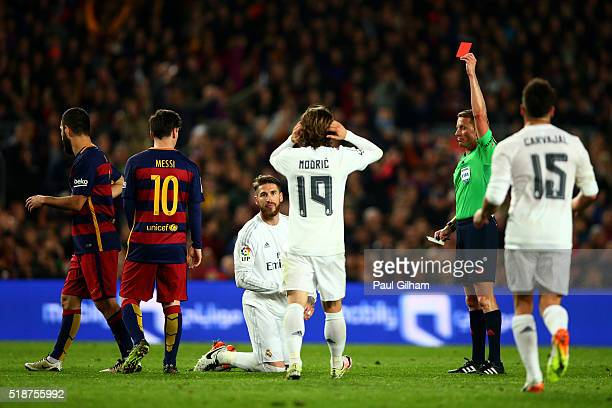 Sergio Ramos of Real Madrid CF receives a red card from referee Alejandro Jose Hernandez Hernandez during the La Liga match between FC Barcelona and...