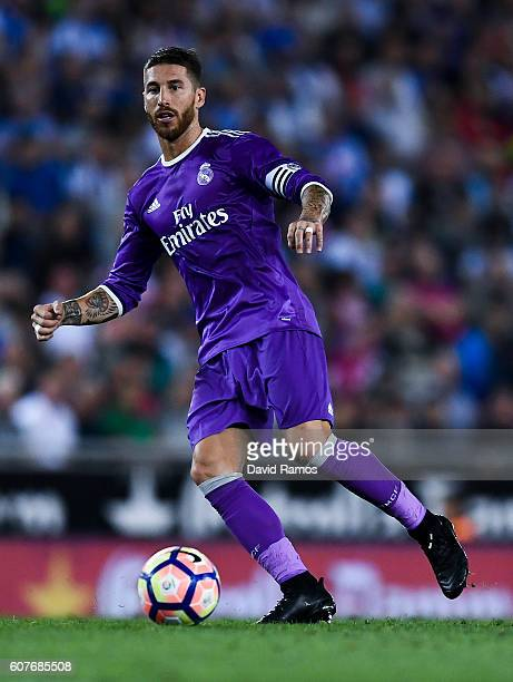 Sergio Ramos of Real Madrid CF runs with the ball during the La Liga match between RCD Espanyol and Real Madrid CF at the RCDE stadium on September...