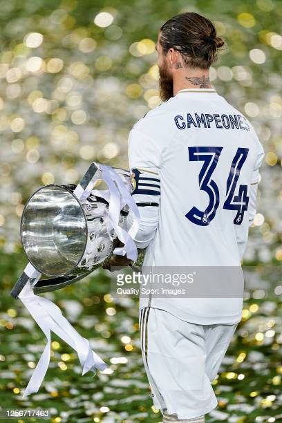 Sergio Ramos of Real Madrid CF walking with the La Liga trophy after Real Madrid secure the La Liga title during the La Liga match between Real...