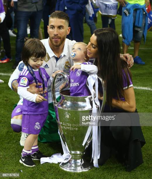 Sergio Ramos of Real Madrid CF with family and Trophy during the UEFA Champions League Final match between Real Madrid and Juventus at National Wales...