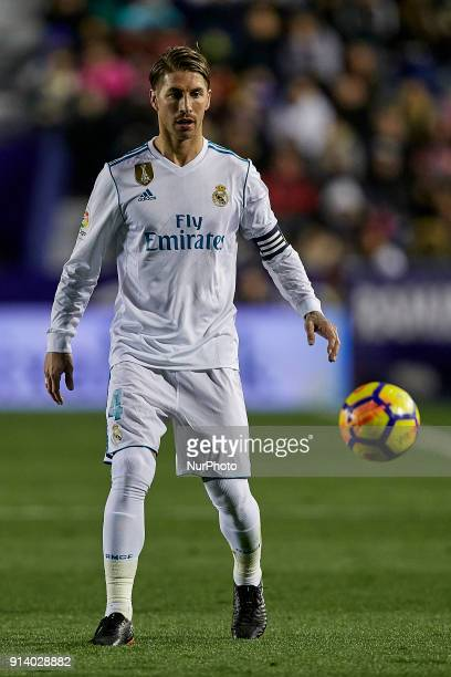 Sergio Ramos of Real Madrid CF with the ball during the La Liga game between Levante UD and Real Madrid CF at Ciutat de Valencia on February 3 2018...