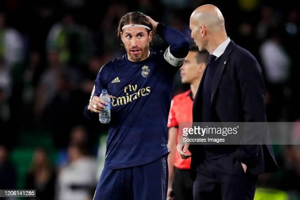Sergio Ramos of Real Madrid coach Zinedine Zidane of Real Madrid during the La Liga Santander match between Real Betis Sevilla v Real Madrid at the...