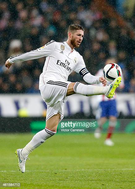 Sergio Ramos of Real Madrid controls the ball during the Copa del Rey round of 16 second leg match between Real Madrid CF and Club Atletico de Madrid...