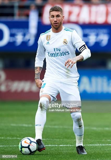Sergio Ramos of Real Madrid controls the ball during the La Liga match between SD Eibar and Real Madrid at Ipurua Municipal Stadium on March 10 2018...