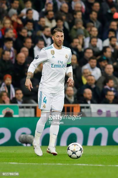 Sergio Ramos of Real Madrid controls the ball during the UEFA Champions League Round of 16 First Leg match between Real Madrid and Paris SaintGermain...