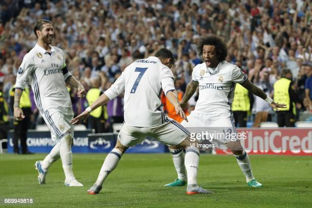 Sergio Ramos of Real Madrid Cristiano Ronaldo of Real Madrid Marcelo of Real Madridduring the UEFA Champions League quarter final match between Real...