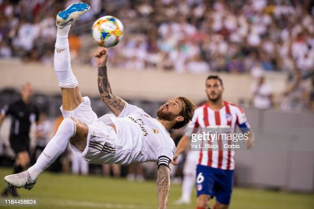 Sergio Ramos of Real Madrid does a bicycle kick during the International Champions Cup Friendly match between Atletico de Madrid and Real Madrid The...