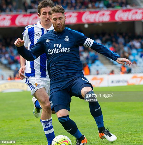 Sergio Ramos of Real Madrid duels for the ball with Oyarzabal of Real Sociedad during the Spanish league football match between Real Sociedad and...