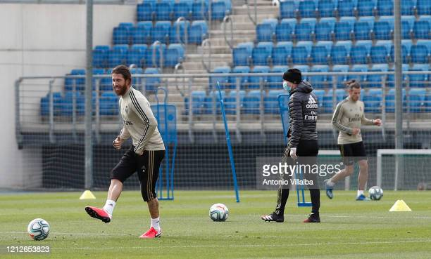 Sergio Ramos of Real Madrid during a first training session since the Covid19 pandemic at Valdebebas training ground on May 11 2020 in Madrid Spain