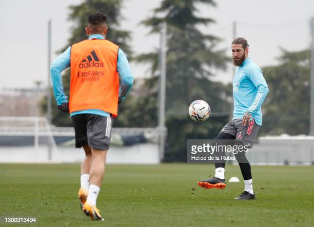 Sergio Ramos of Real Madrid during a training session at Valdebebas training ground on February 04, 2021 in Madrid, Spain.